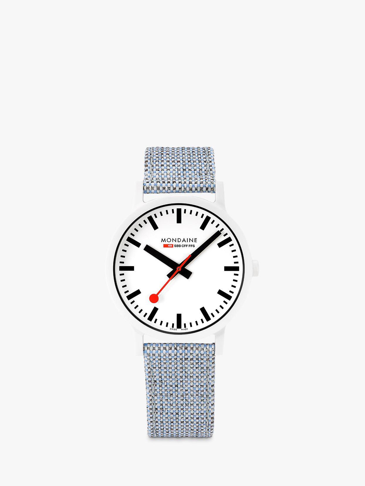 Mondaine Mondaine MS1.41110.LD Unisex Essence Fabric Strap Watch, Blue Multi/White