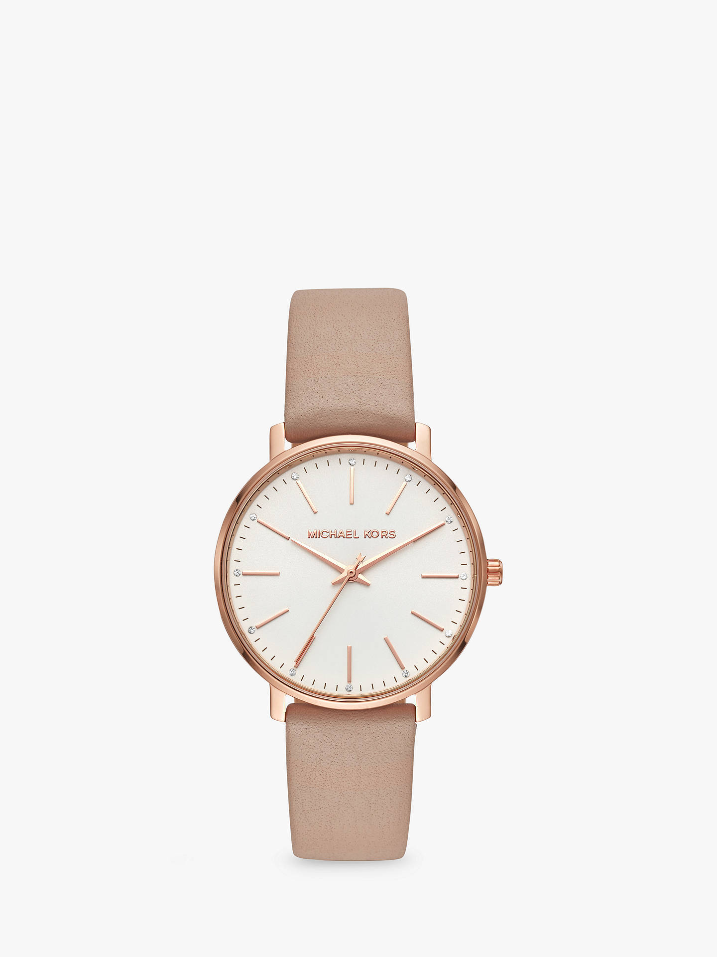 b3528a208 Buy Michael Kors Women's Pyper Leather Strap Watch, Beige/White MK2748  Online at johnlewis ...