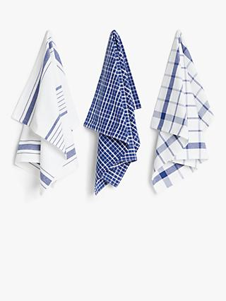 ANYDAY John Lewis & Partners Stripe & Check Tea Towels, Pack of 3