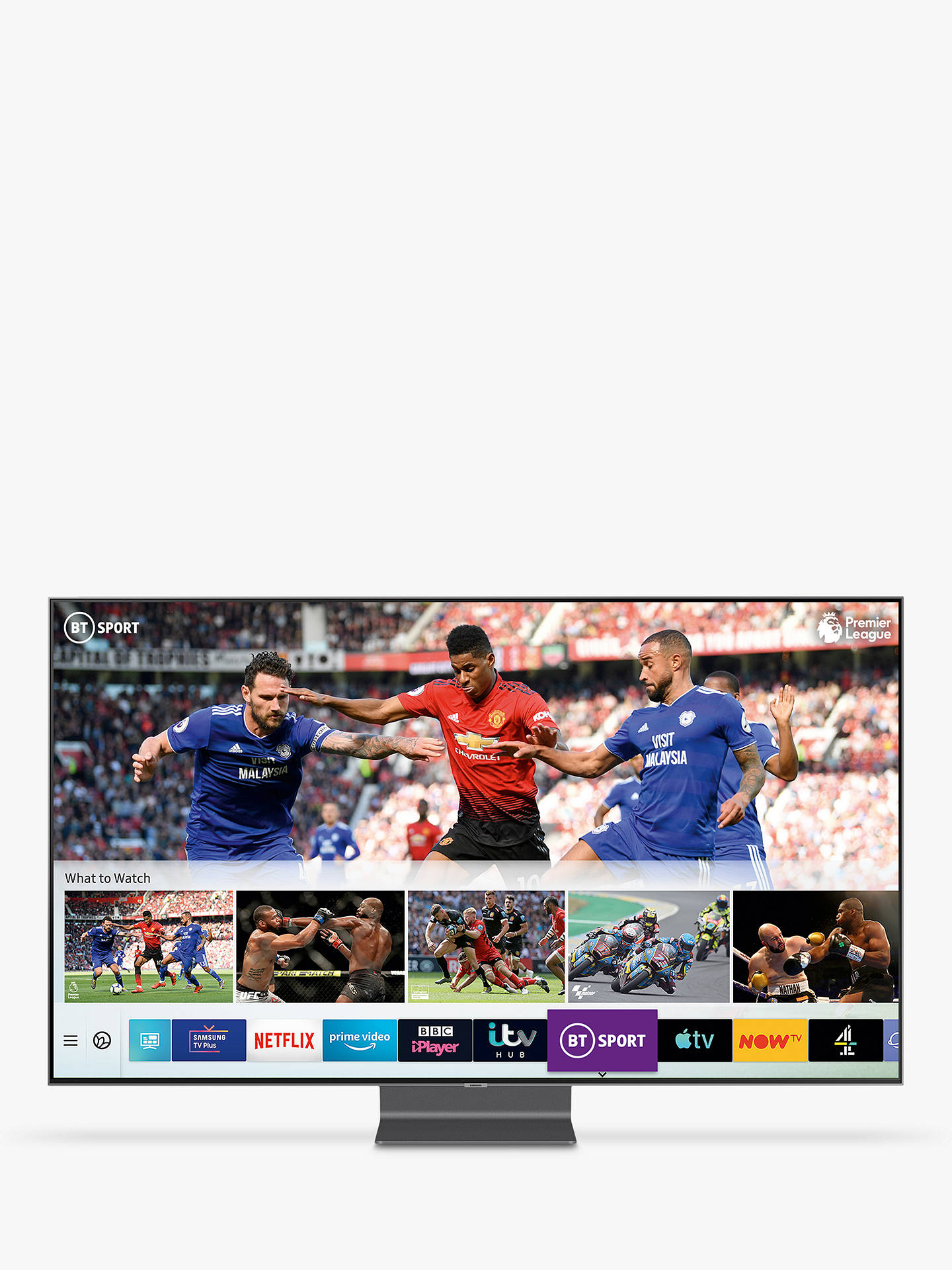"Buy Samsung QE55Q90R (2019) QLED HDR 2000 4K Ultra HD Smart TV, 55"" with TVPlus/Freesat HD & Apple TV App, Carbon Silver Online at johnlewis.com"