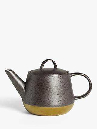 John Lewis & Partners Fusion Metallic Teapot, 900ml, Black/Gold