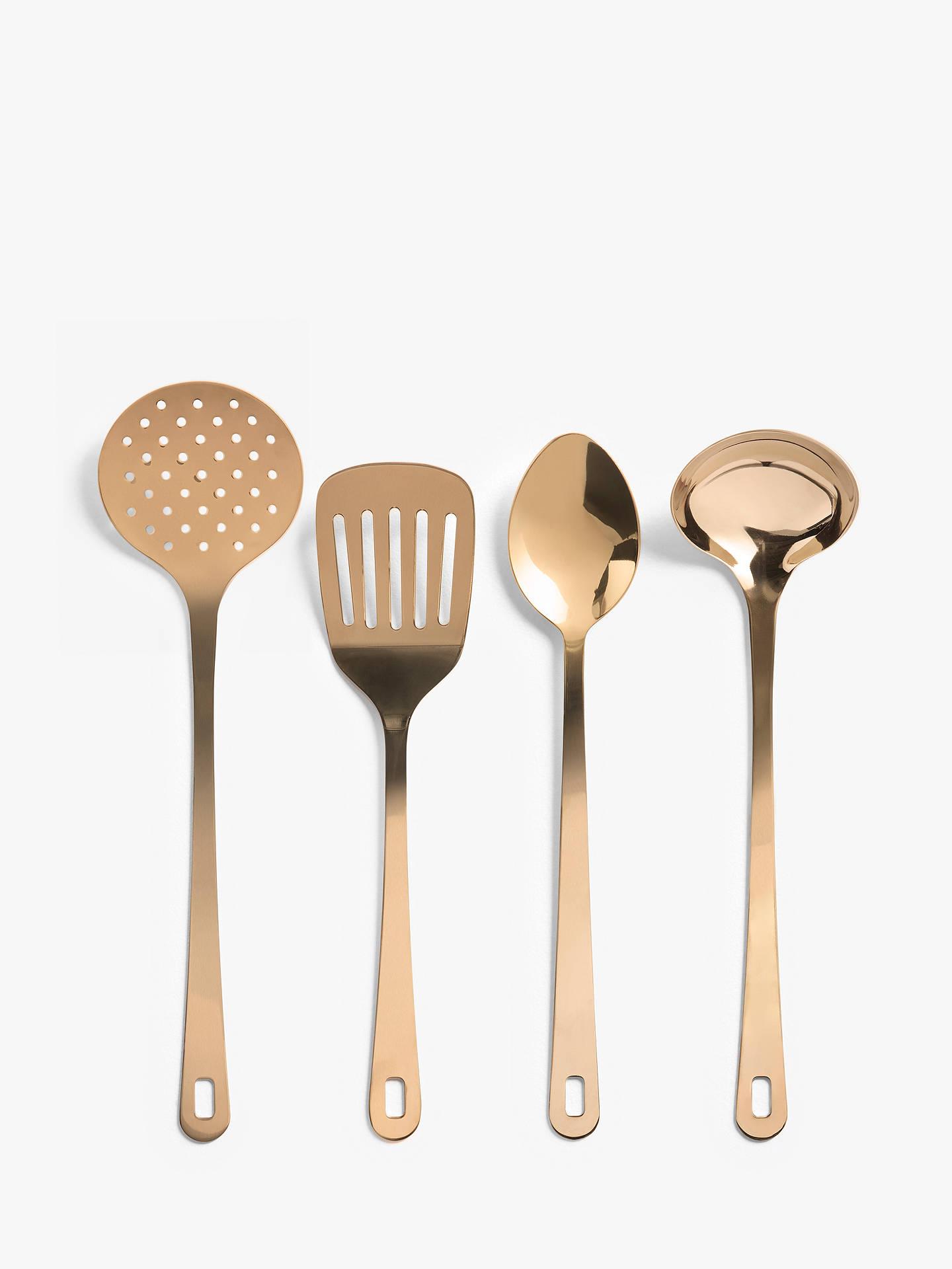 John Lewis & Partners Stainless Steel Kitchen Utensils, Set of 8, Rose Gold