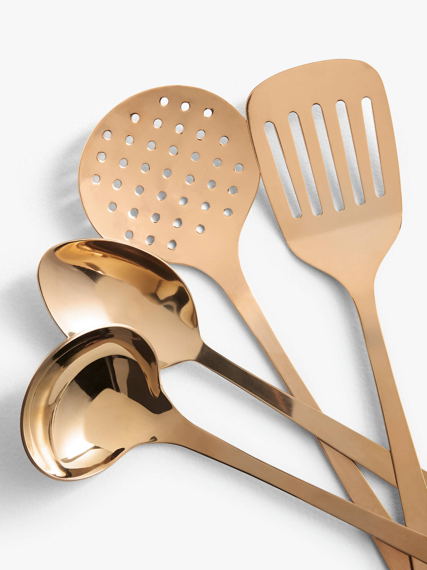 John Lewis & Partners Stainless Steel Kitchen Utensils, Set of 8, Rose Gold