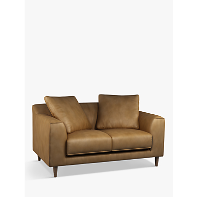 John Lewis & Partners Billow Small 2 Seater Leather Sofa, Dark Leg
