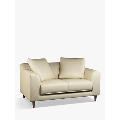 John Lewis & Partners Billow Small 2 Seater Leather Sofa, Dark Leg