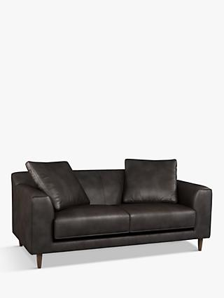 John Lewis & Partners Billow Large 3 Seater Leather Sofa, Dark Leg