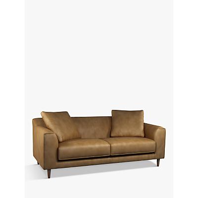 John Lewis & Partners Billow Grand 4 Seater Leather Sofa, Dark Leg