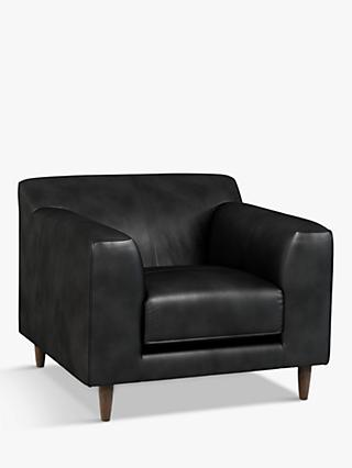 John Lewis & Partners Billow Leather Armchair, Dark Leg