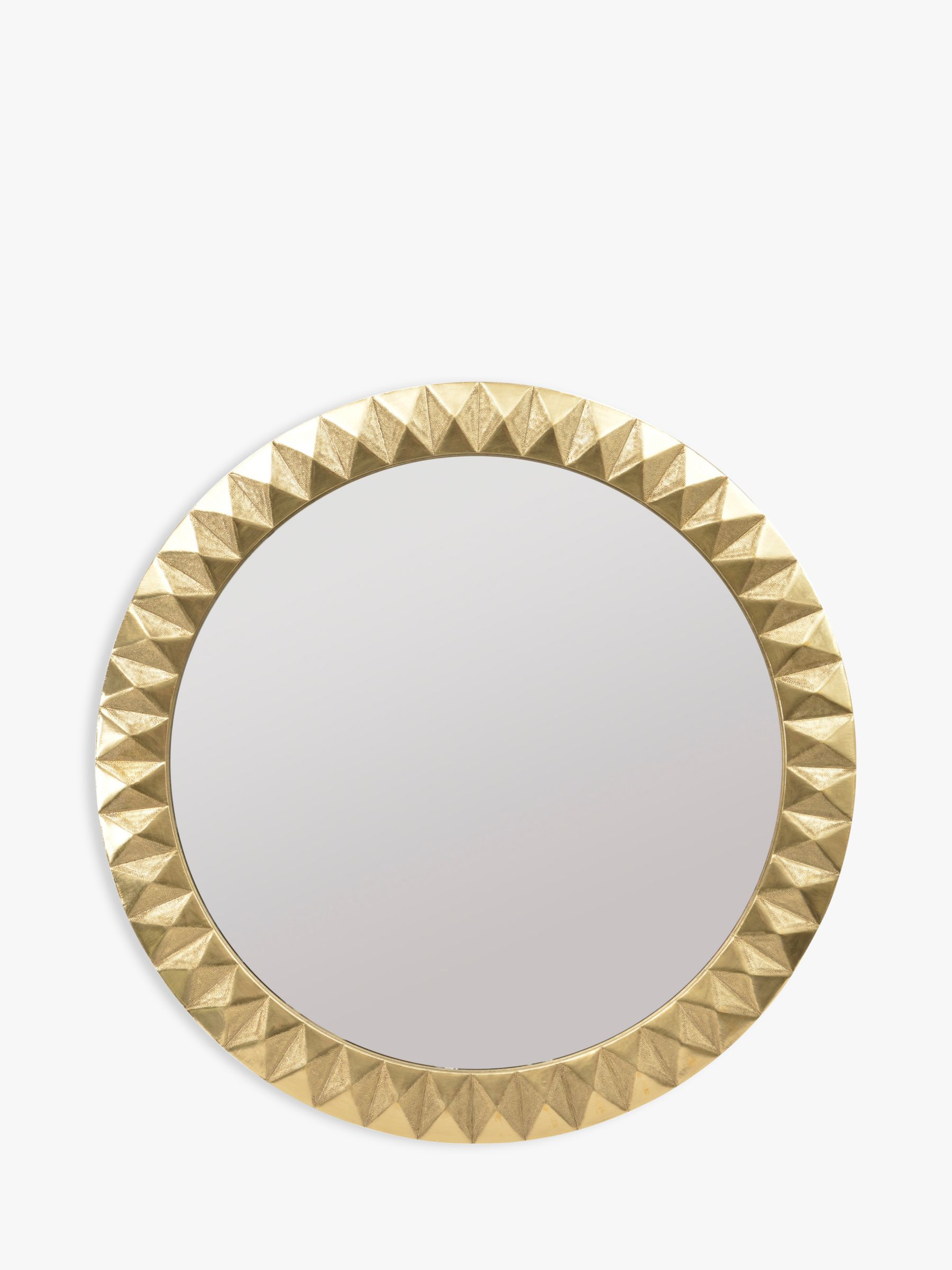 Libra Libra Savoy Large Round Embossed Mirror, Brass, 110cm