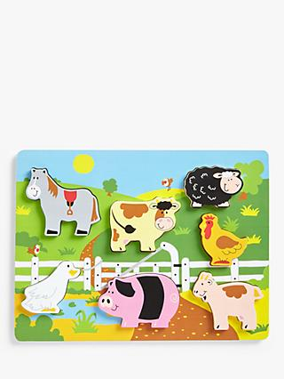 John Lewis & Partners Wooden Chunky Farm Puzzle