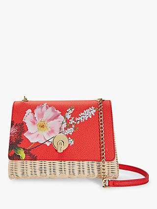 Ted Baker Elaaine Floral Print Basket Cross Body Bag, Bright Red
