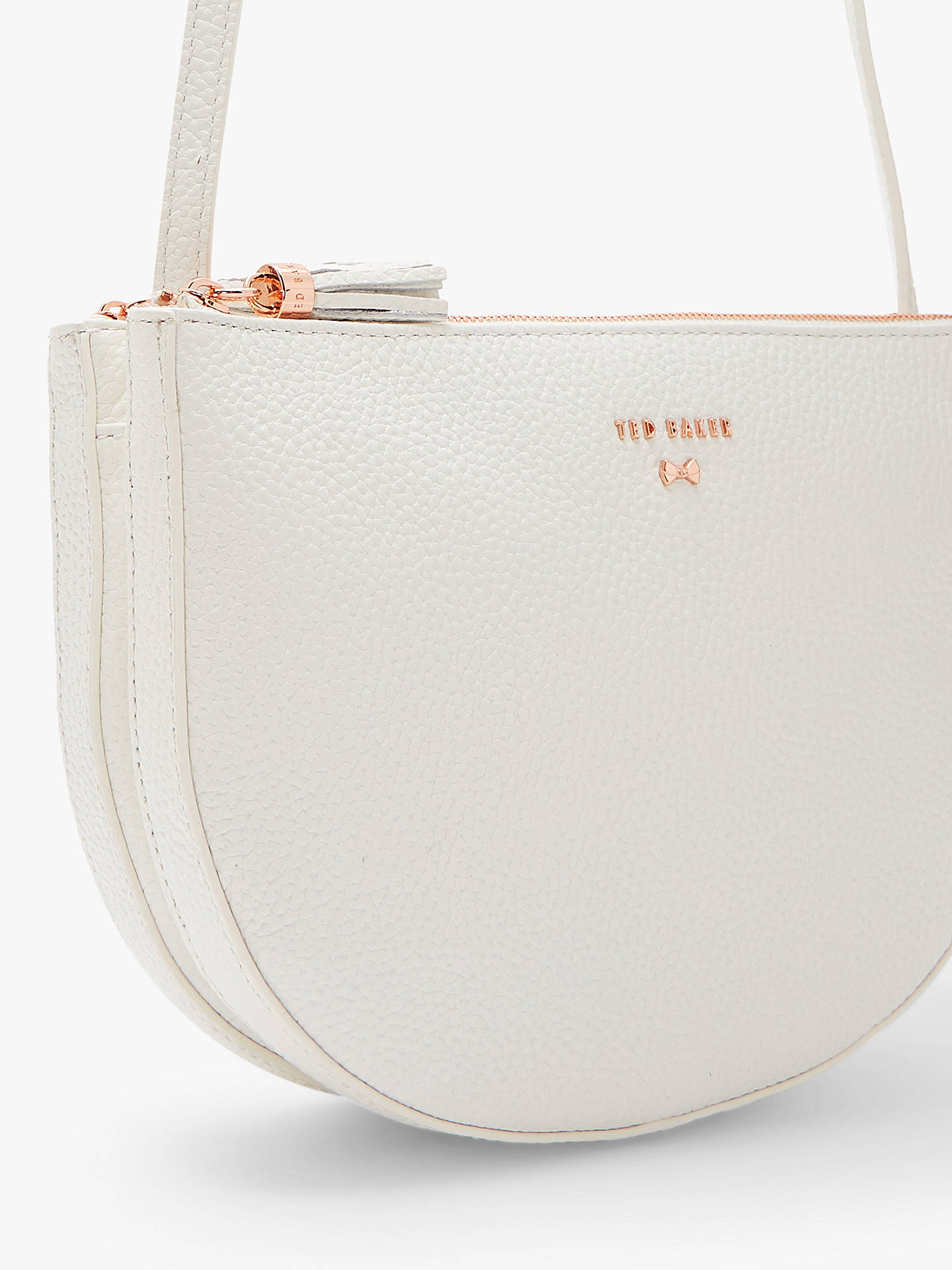 56fa07659 Buy Ted Baker Suzzane Leather Double Zip Cross Body Bag, White Online at  johnlewis.
