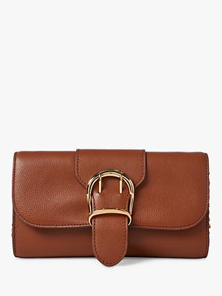 e31bdf77885 Lauren Ralph Lauren Medium Chain Strap Leather Clutch Bag, Tan