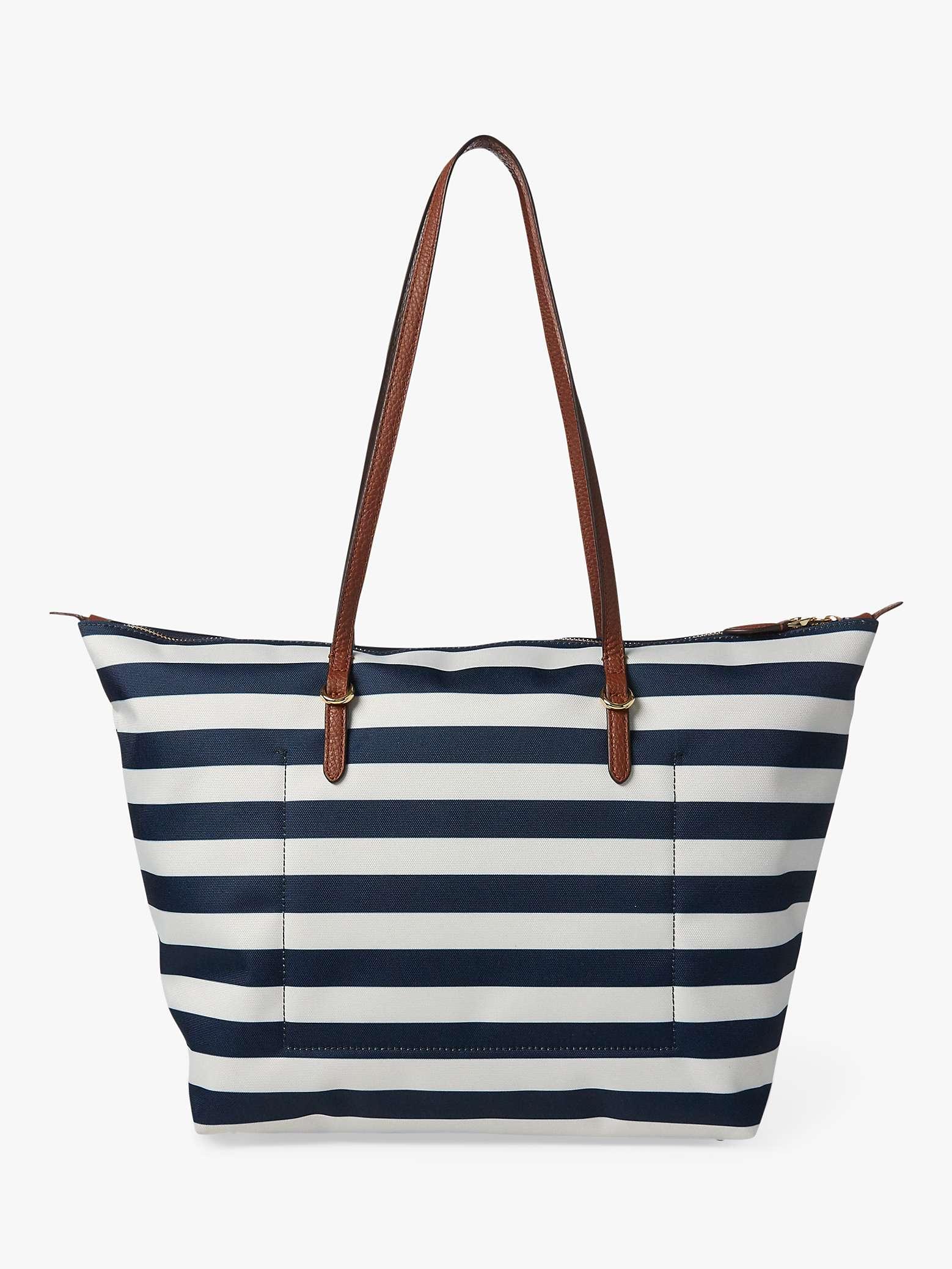 ostaa yksinoikeudella kengät upouusi Lauren Ralph Lauren Chadwick Tote Bag, Navy/White at John ...