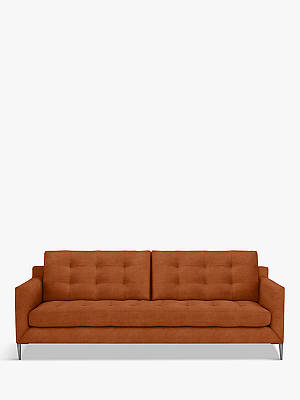Buy John Lewis & Partners Draper Large 3 Seater Velvet Sofa, Metal Leg, Lucca Sienna Online at johnlewis.com