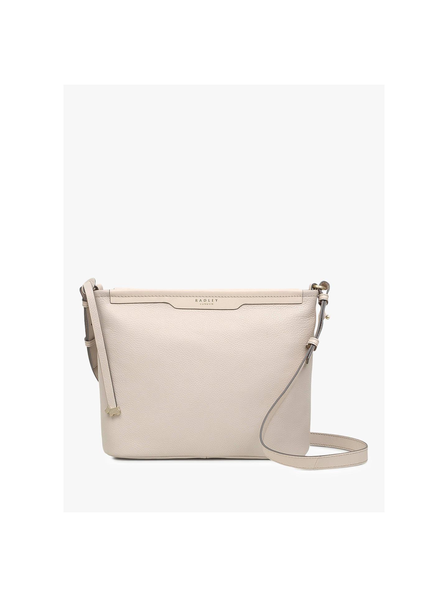42ed1d46ebcda2 Buy Radley Patcham Place Medium Zip-Top Leather Cross Body Bag, Grey Online  at ...