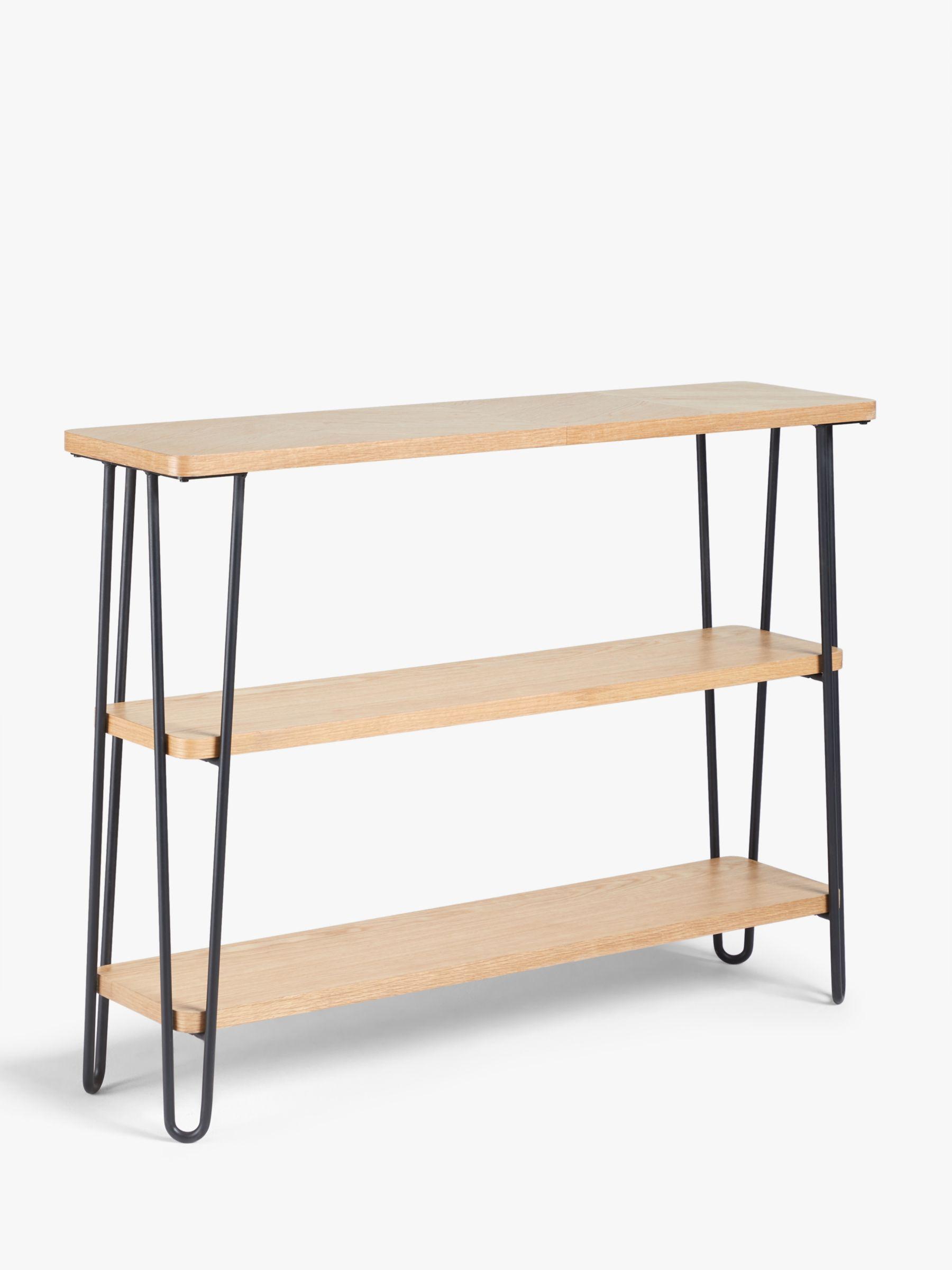 John Lewis Partners Hairpin Low Bookcase Oak