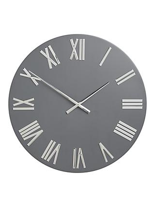 John Lewis & Partners Roman Numerals Large Wall Clock, 60cm, Graphite