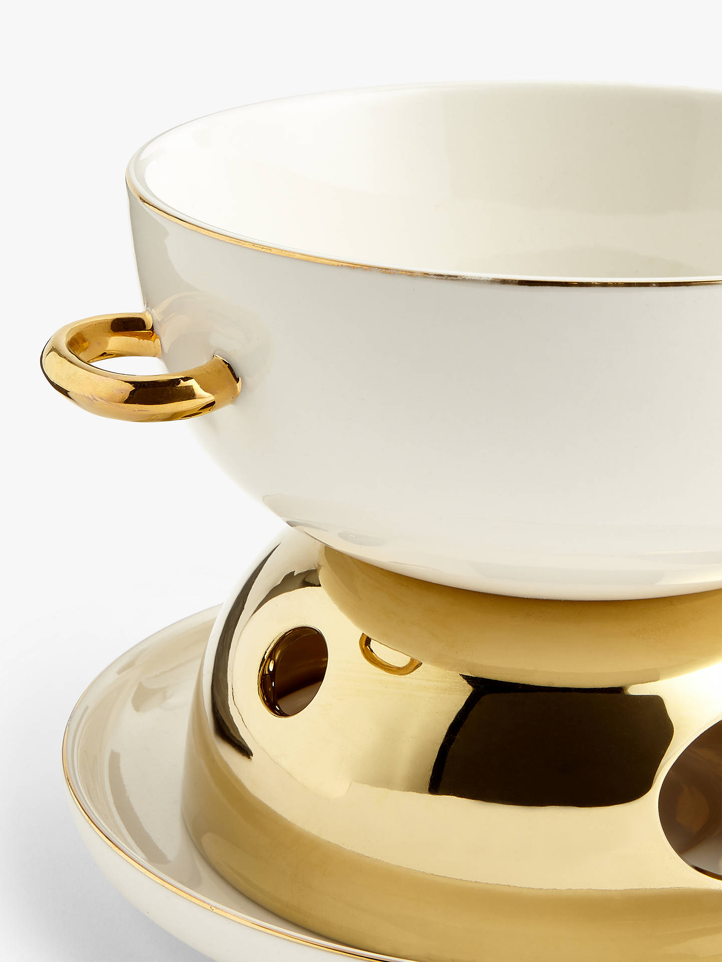 Buy John Lewis & Partners Ceramic Fondue Gift Set, White/Gold Online at johnlewis.com