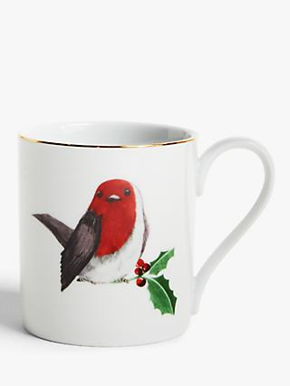 John Lewis & Partners Christmas Robin Mug, 300ml, White/Red