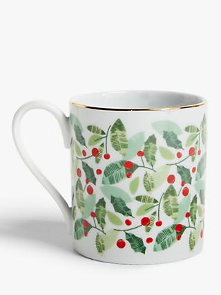 John Lewis & Partners Christmas Holly Mug, 300ml, Green/Red