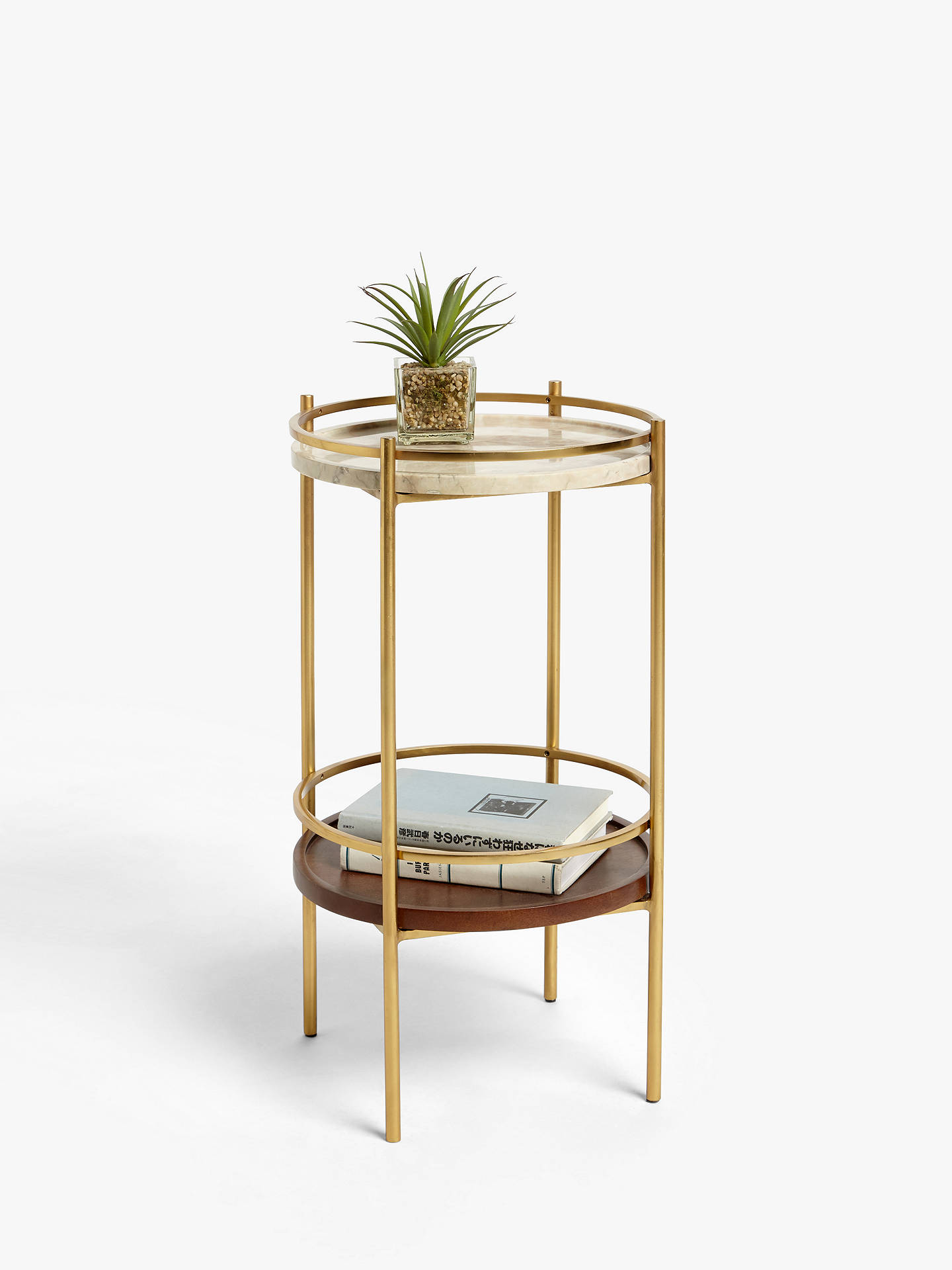 Buy John Lewis & Partners + Swoon Raine Marble Side Table, Gold Online at johnlewis.com