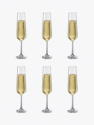 Dartington Crystal Simplicity Champagne Flutes, 200ml, Set of 6, Clear