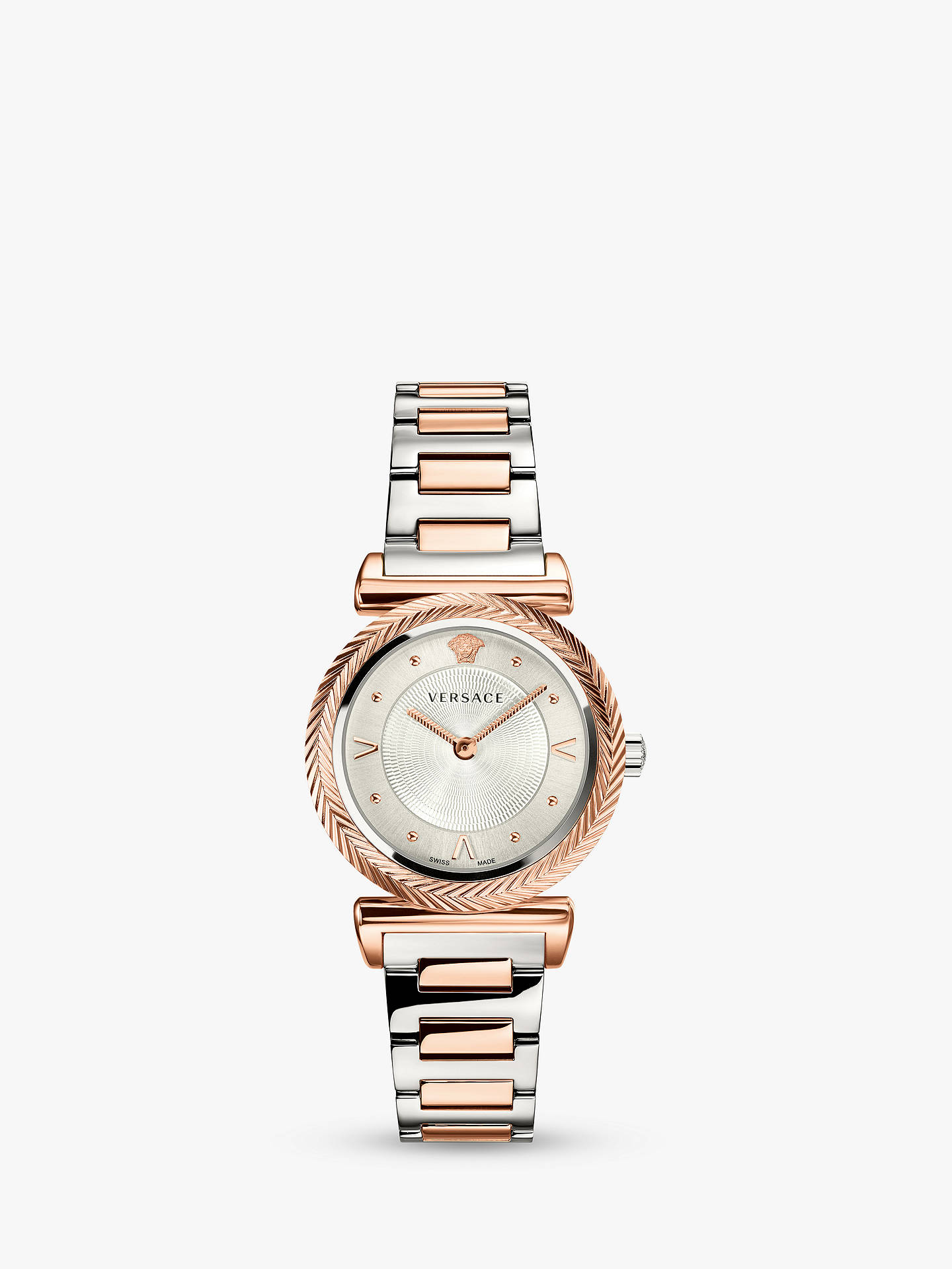 23351e6993 Versace VERE00718 Women's Bracelet Strap Watch, Silver/Rose Gold