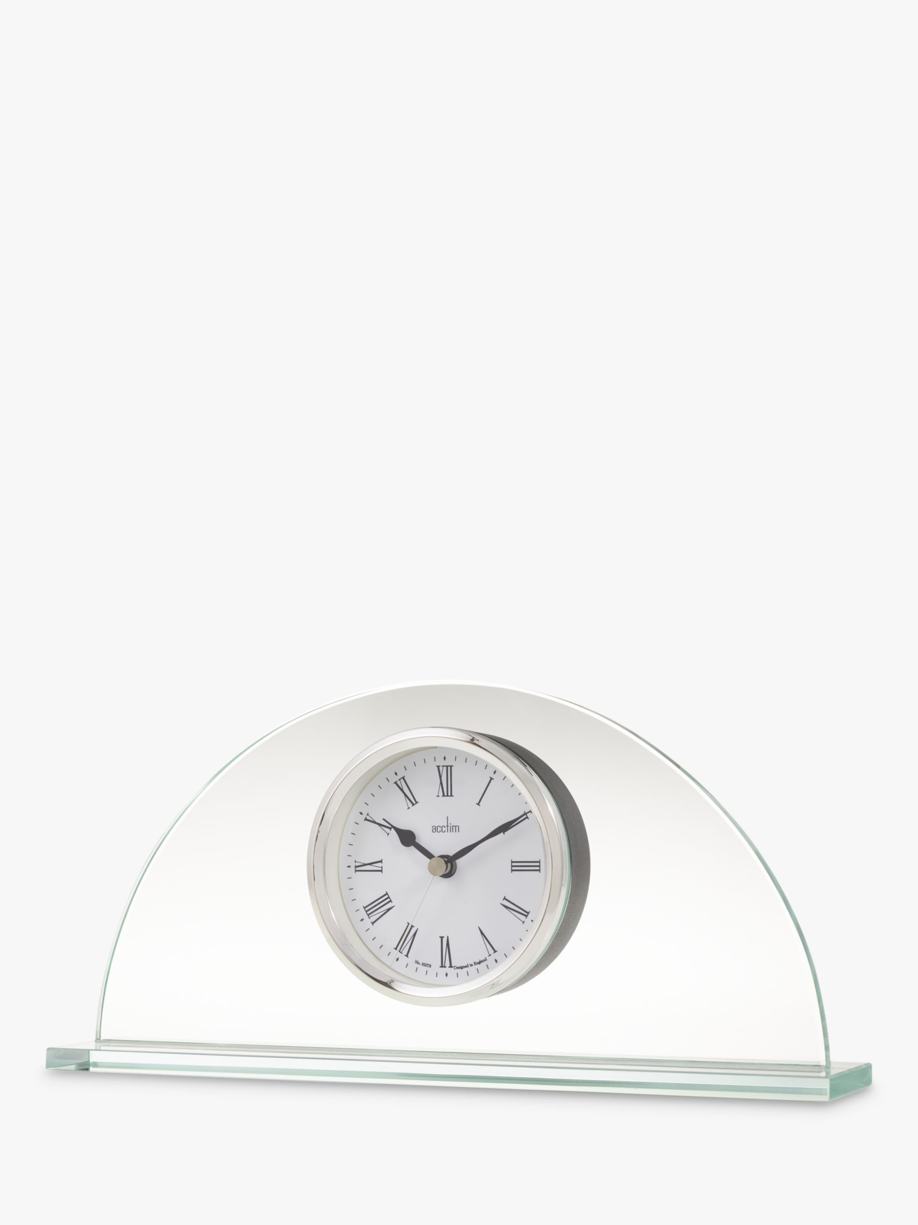 Acctim Acctim Milton Glass Mantel Clock, Clear/Chrome, H13cm
