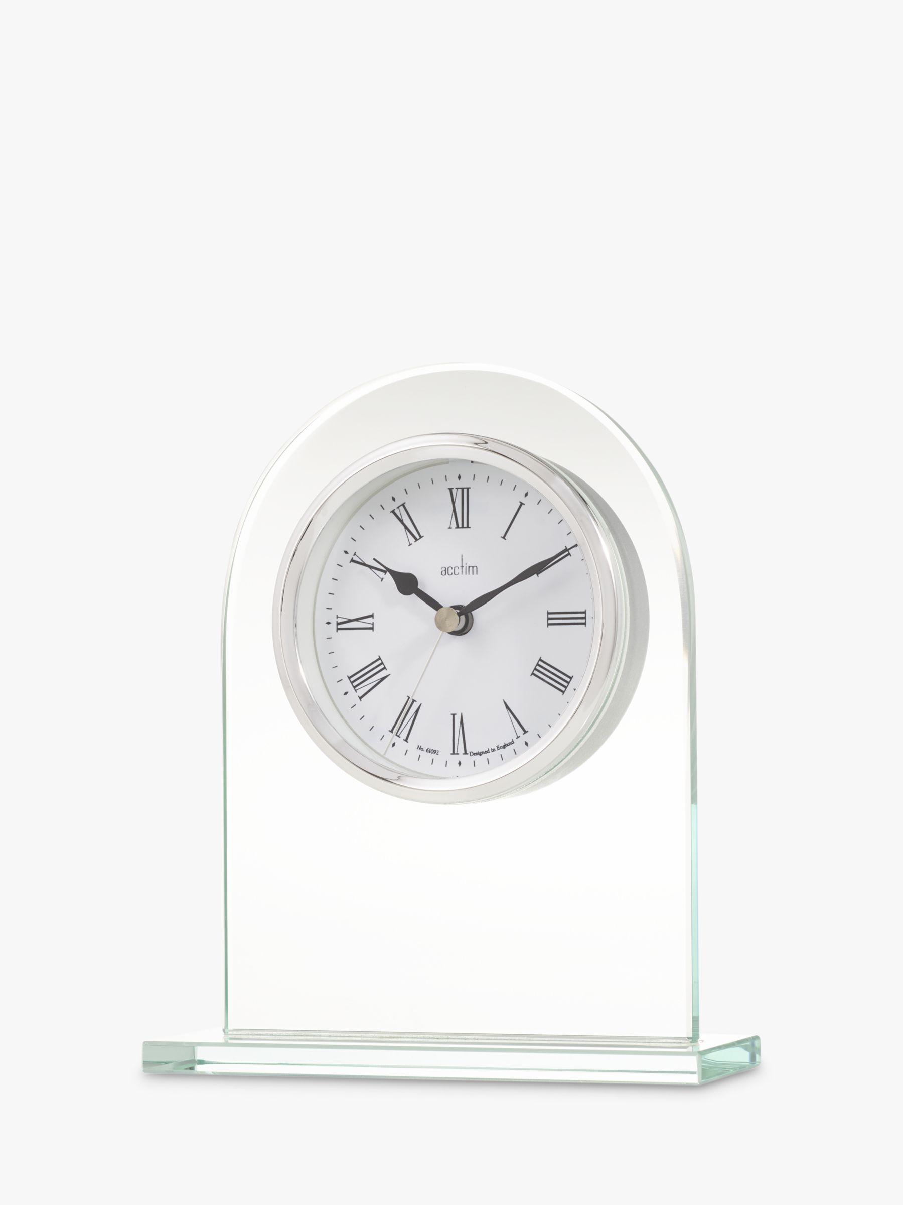 Acctim Acctim Ascott Glass Mantel Clock, Clear/Chrome, H17cm