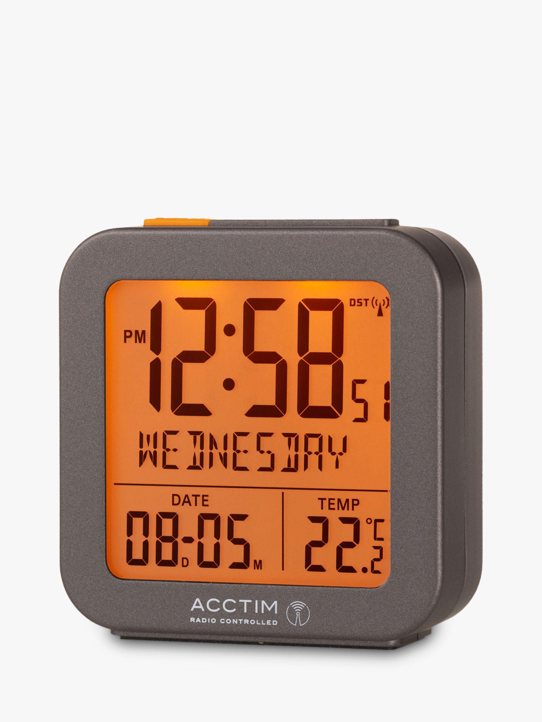 Acctim Acctim Invicta Radio Controlled Square Digital Alarm Clock, Dark Grey