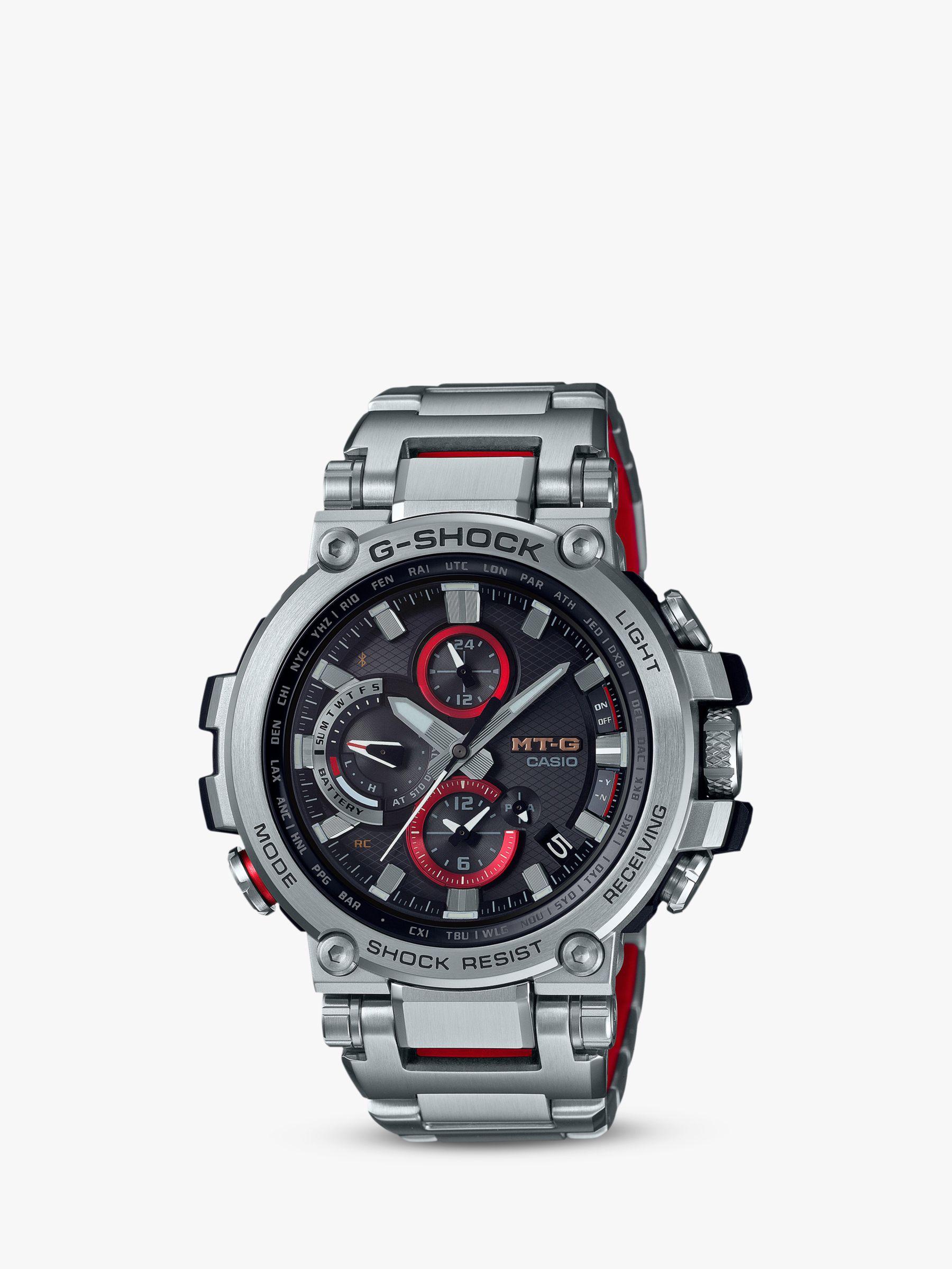 Casio Casio MTG-B1000D-1AER Men's G-Shock Connected Chronograph Bracelet Strap Watch, Silver/Black