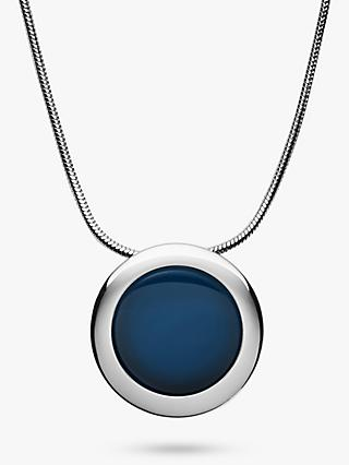 Skagen Sea Glass Round Pendant Necklace, Silver/Blue SKJ1194040