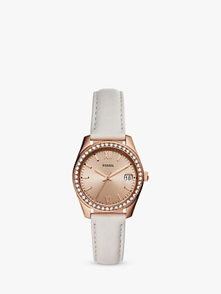 c43558d8cf5a Fossil ES4556 Mini Scarlette Cubic Zirconia Date Leather Strap Watch