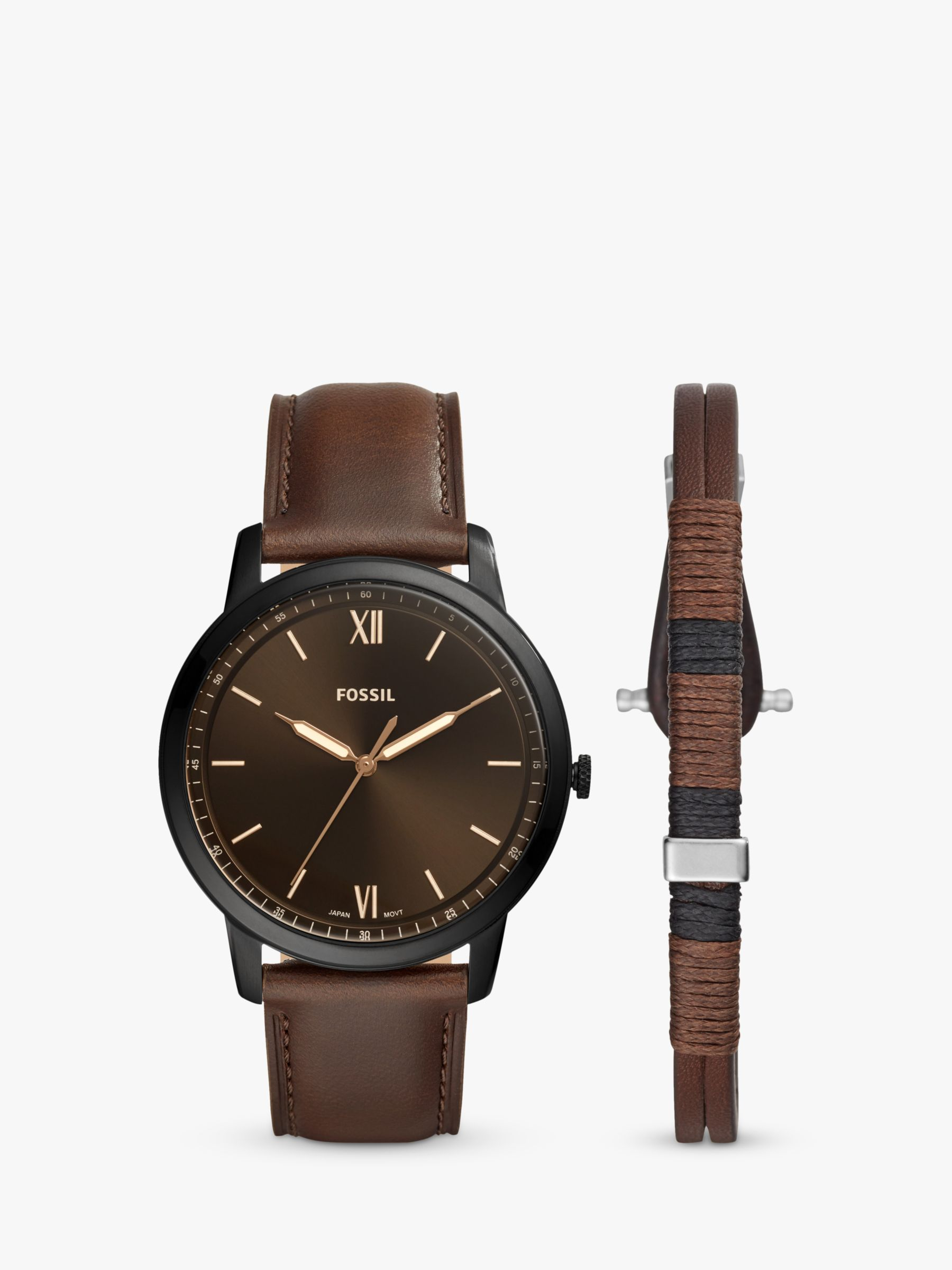 Fossil Fossil FS5557SET Men's Minimalist Leather Strap Watch and Bracelet Gift Set, Brown