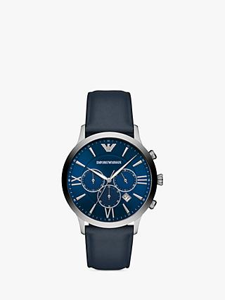 Emporio Armani AR11226 Men's Chronograph Date Leather Strap Watch, Navy