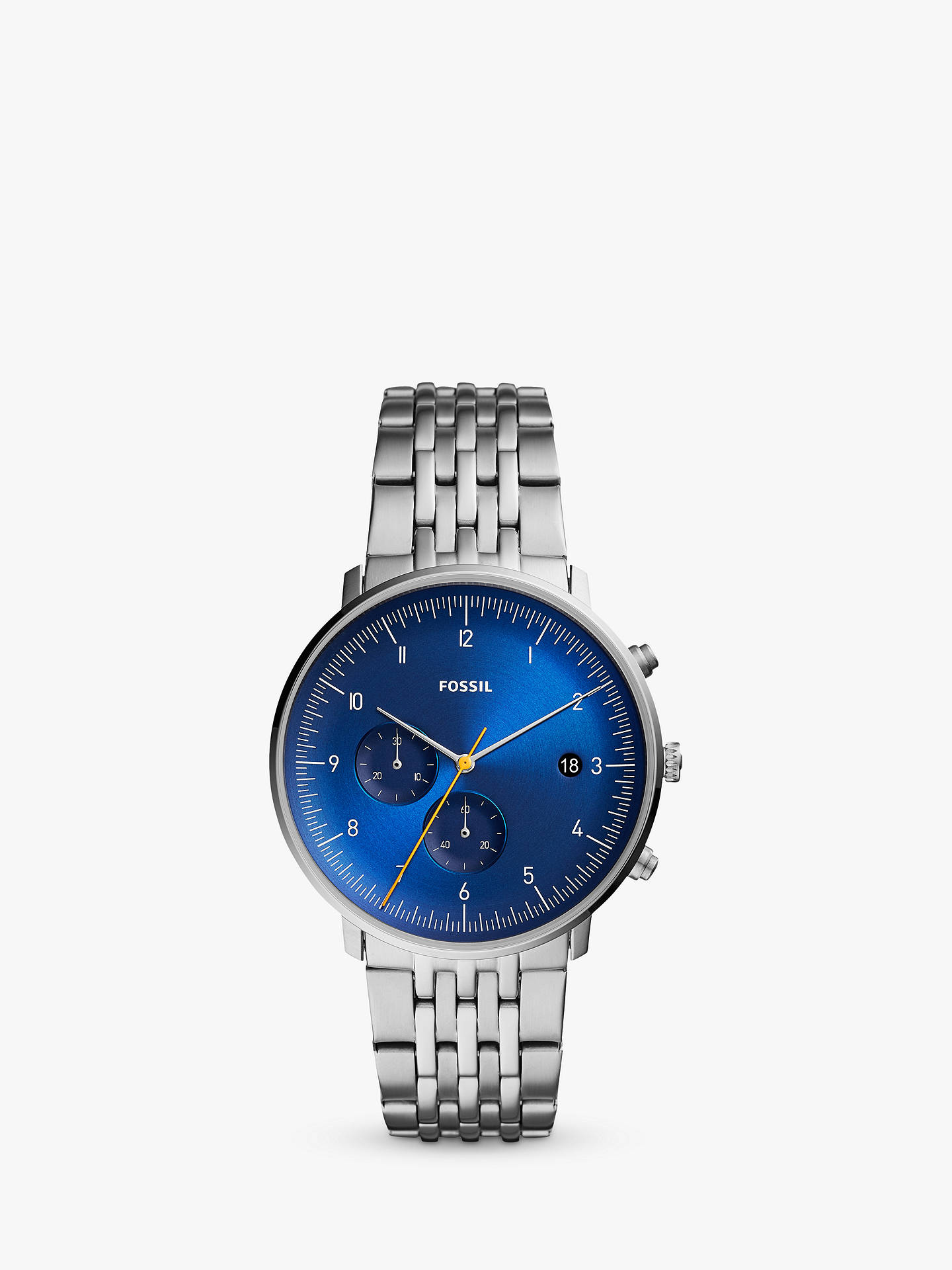 afd11e751f Fossil FS5542 Men's Chase Chronograph Date Bracelet Strap Watch, Silver/Blue