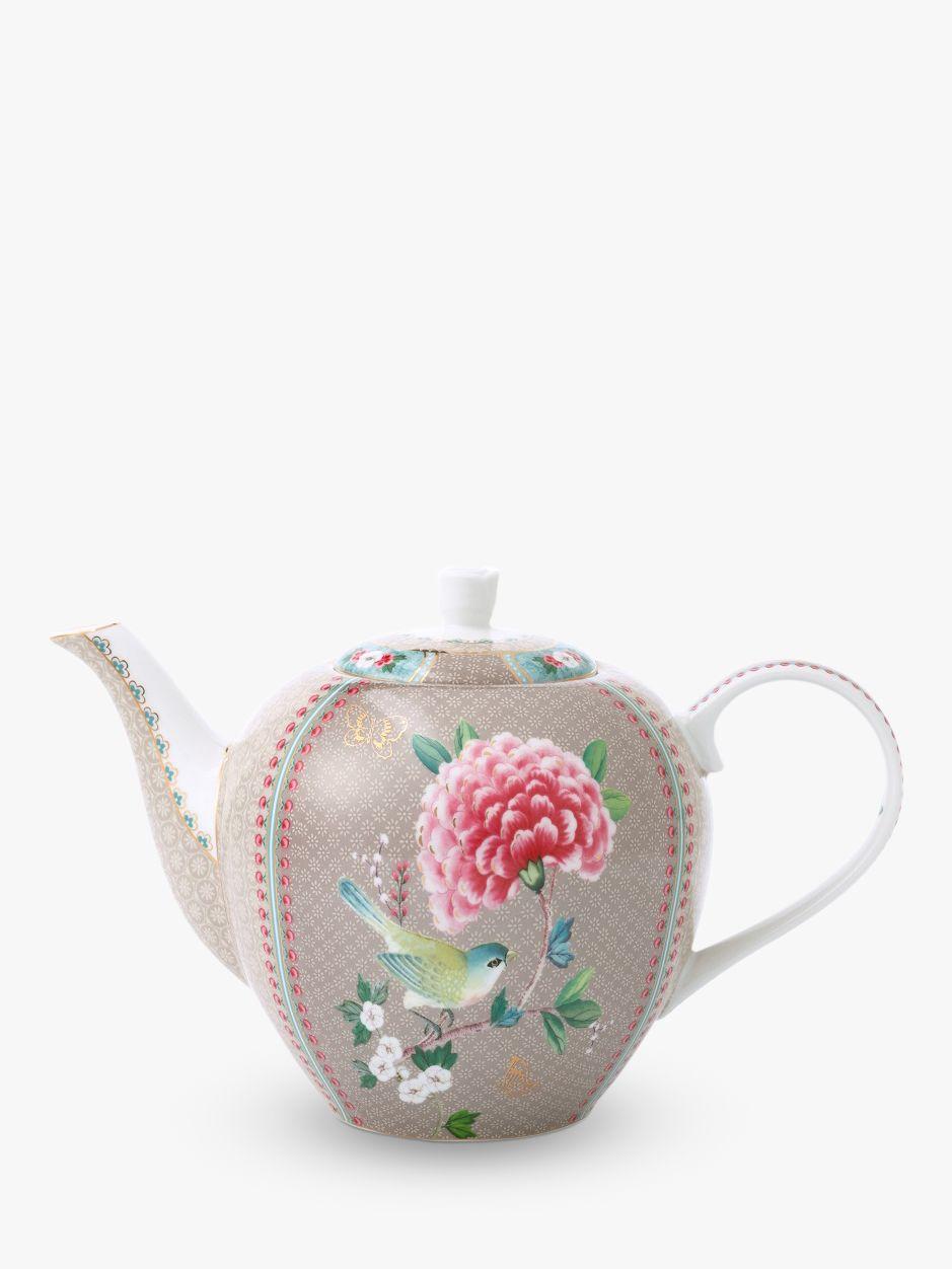 PiP Studio PiP Studio Blushing Birds Large Teapot, Khaki/Multi, 1.6L