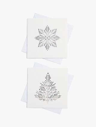 John Lewis & Partners White Snowflake Charity Christmas Cards, Pack of 10