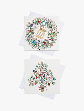 John Lewis & Partners Wreath & Tree Charity Christmas Cards, Pack of 10