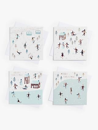 John Lewis & Partners Skiing Scenes Charity Christmas Cards, Pack of 28