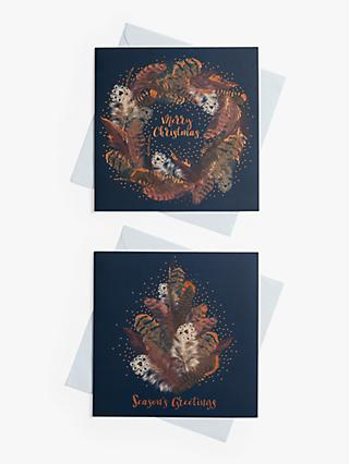 John Lewis & Partners Feather Wreath Charity Christmas Cards, Pack of 10