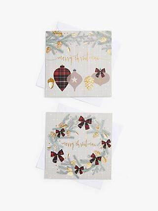 John Lewis & Partners Tartan Bows Charity Christmas Cards, Pack of 10