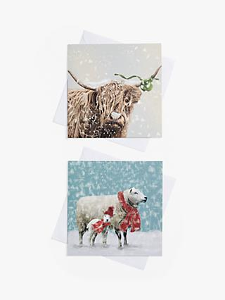 John Lewis & Partners Highland Cow & Sheep Charity Christmas Cards, Pack of 10