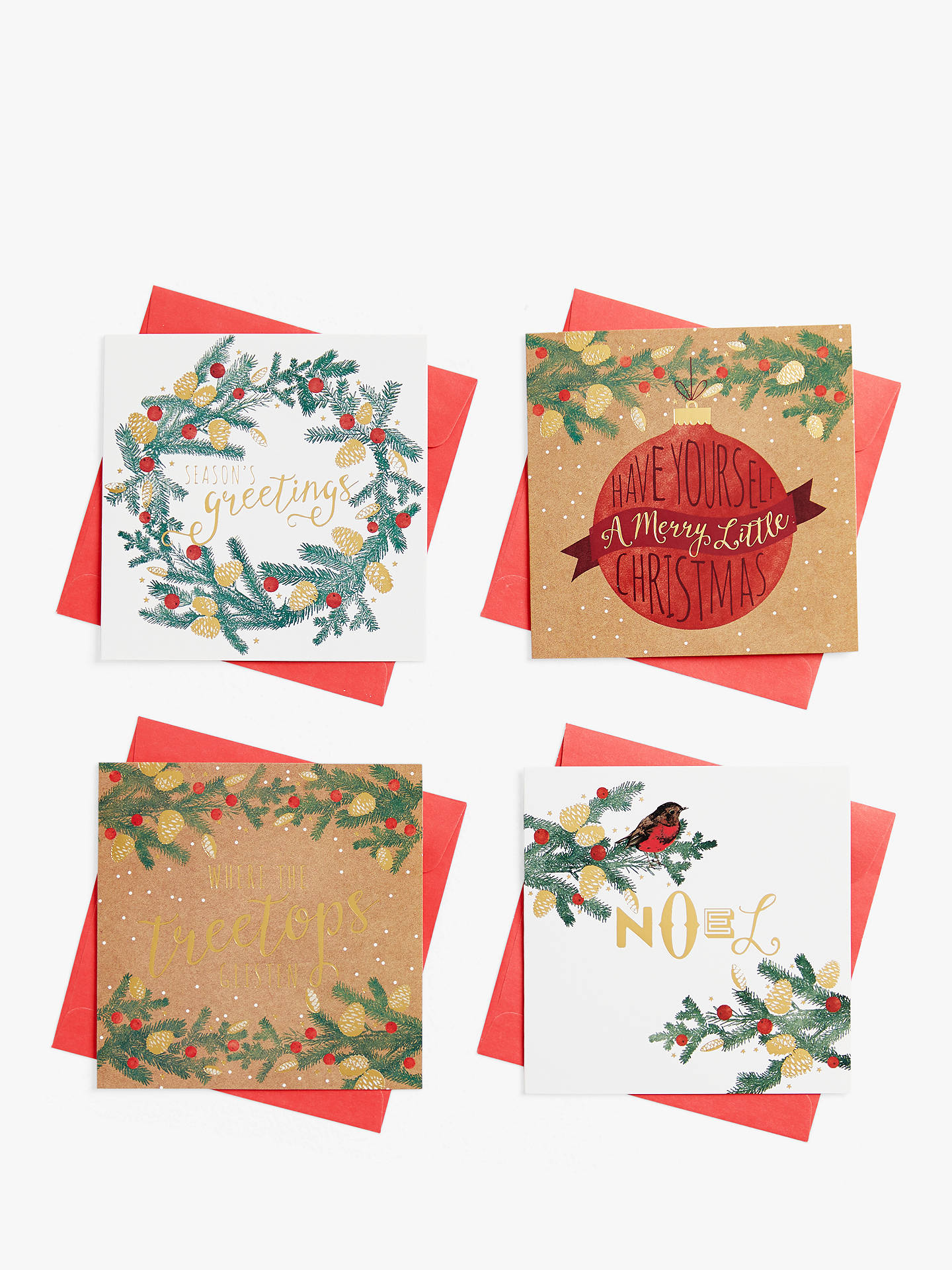 Coffee Christmas Cards.John Lewis Partners Acorn Pine Charity Christmas Cards Pack Of 28