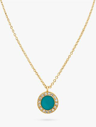 59bb263f47d2 Melissa Odabash Swarovski Crystal Enamel Round Pendant Necklace