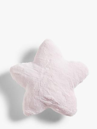 little home at John Lewis Olivia Faux Fur Star Cushion, Ash Rose