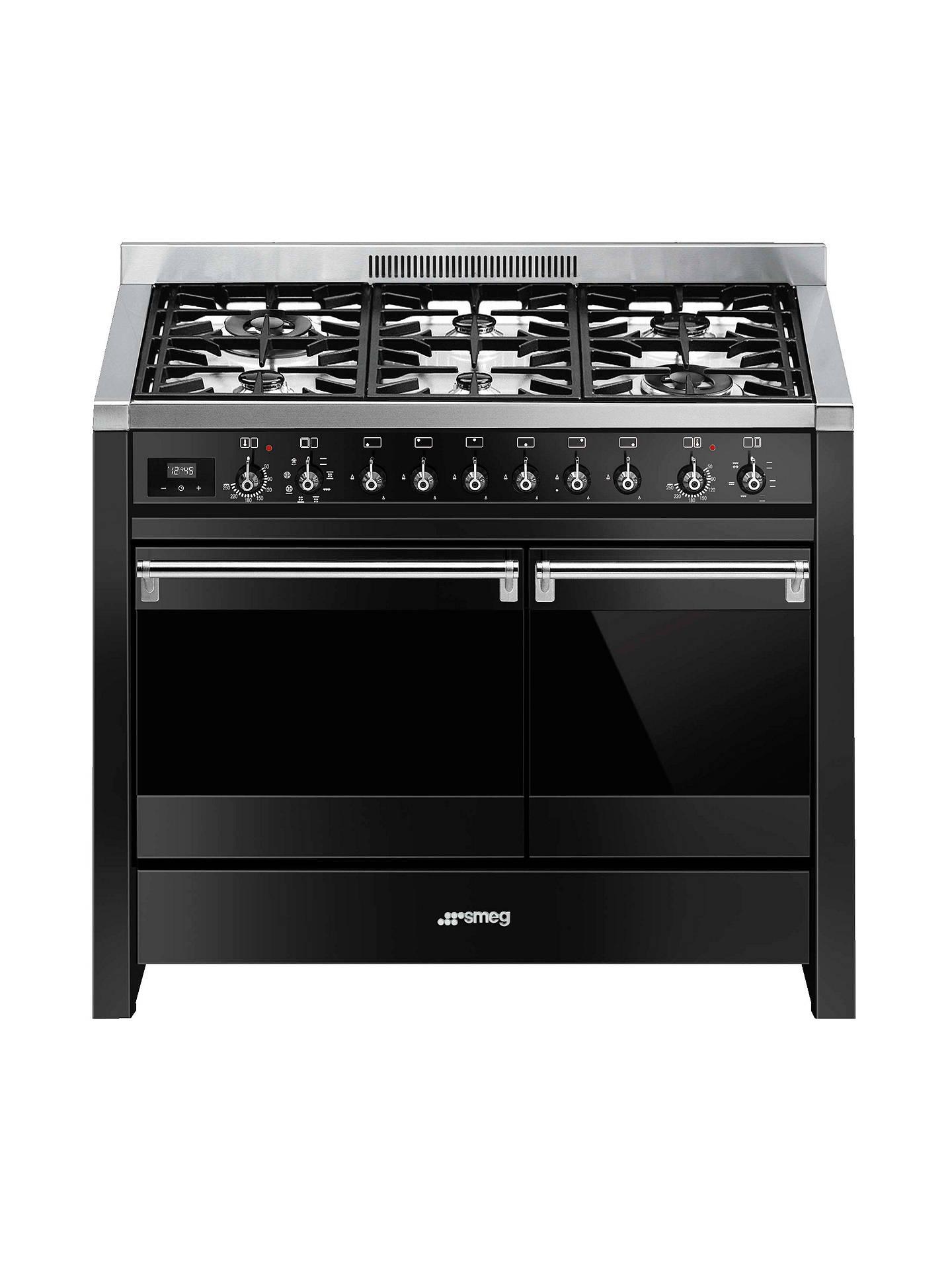 buy smeg a2bl-81 dual fuel range cooker, gloss black online at johnlewis
