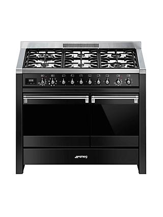 Smeg A2BL-81 Dual Fuel Range Cooker, Black Gloss