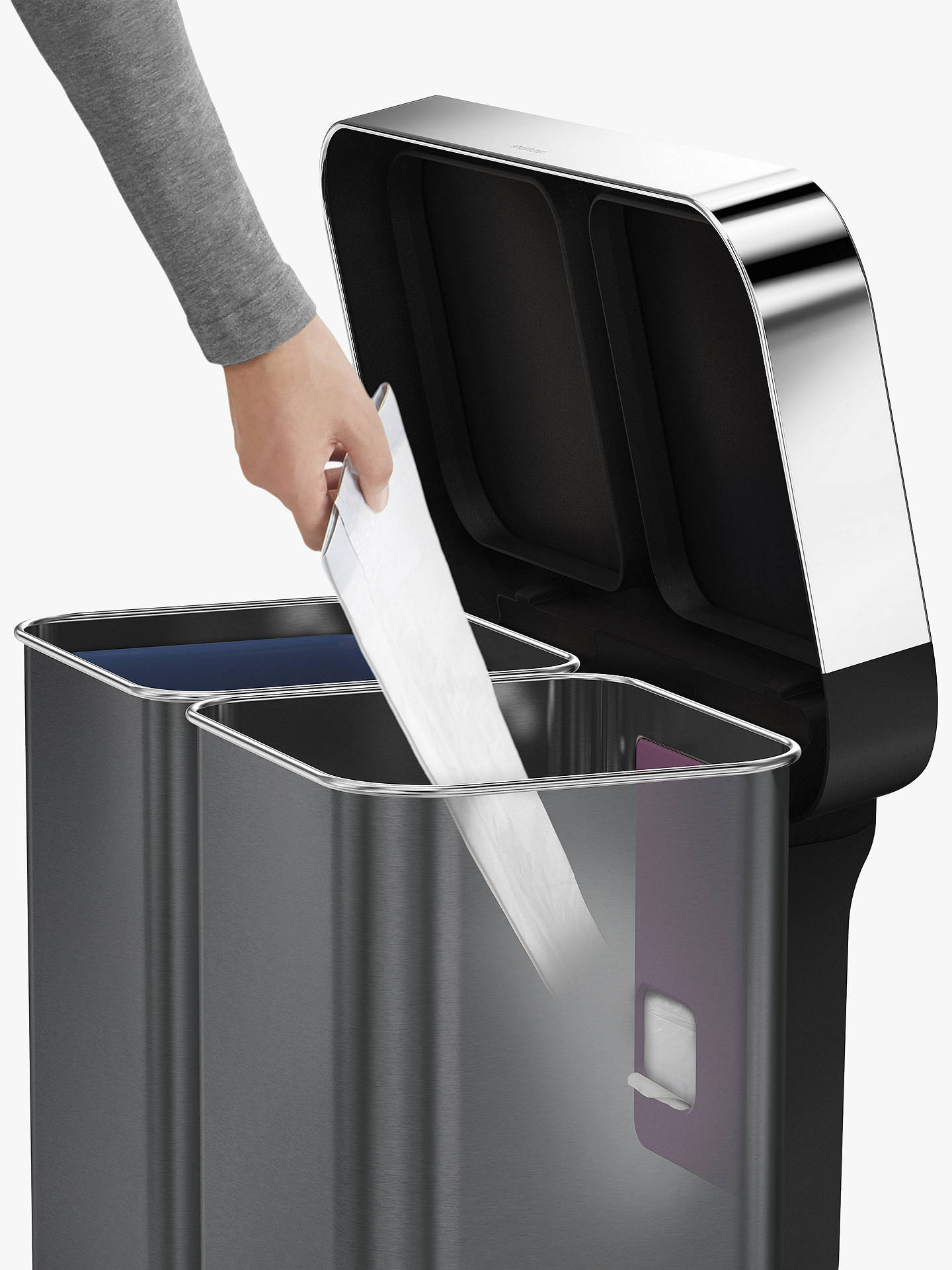 Buy simplehuman Dual Compartment Fingerprint Proof Liner Pocket Recycling Bin, 58L, 58L, Black Online at johnlewis.com